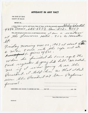 Primary view of object titled '[Affidavit In Any Fact by Gladys Shastid #1]'.