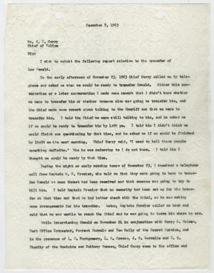 Primary view of object titled '[Report from J. W. Fritz to J. E. Curry, December 8, 1963]'.