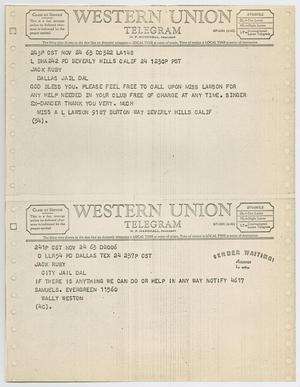 Primary view of object titled '[Telegrams to Jack Ruby from Miss A. L. Lawson and Wally Weston, November 24, 1963 #2]'.