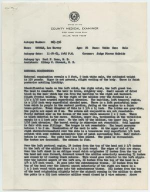 Primary view of object titled '[Autopsy Report for Lee Harvey Oswald, November 24, 1963 #1]'.