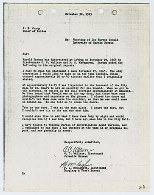 Primary view of object titled '[Report from C. C. Wallace to Chief J. E. Curry, November 30, 1963]'.