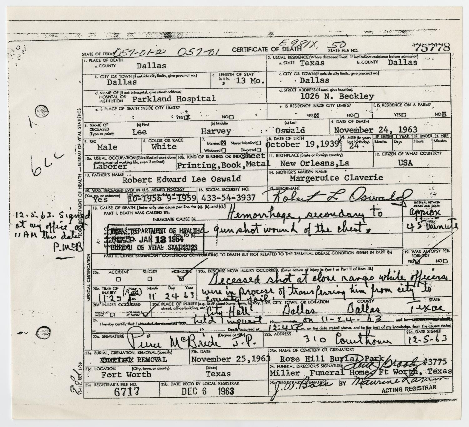 Death certificate of lee harvey oswald the portal to texas history death certificate of lee harvey oswald the portal to texas history aiddatafo Image collections