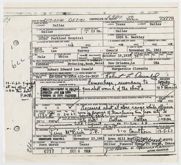 Death Certificate of Lee Harvey Oswald] - The Portal to