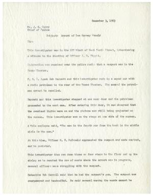 Primary view of object titled '[Report by Captain of Police W. R. Westbrook to Chief of Police J. E. Curry, December 3, 1963 #4]'.