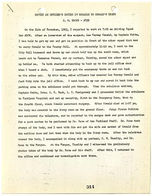Primary view of object titled '[Report on Officer's Duties by C. W. Brown, regarding the murder of Lee Harvey Oswald]'.