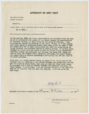 Primary view of object titled '[Affidavit by H. W. Hill #2]'.