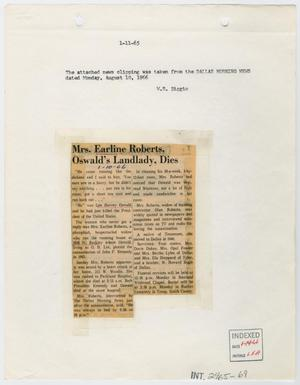 Primary view of object titled '[Newspaper Clipping: Mrs. Earline Roberts, Oswald's Landlady, Dies #2]'.