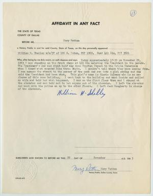 Primary view of object titled '[Affidavit in Any Fact - Statement by William H. Shelley, November 22, 1963 #1]'.