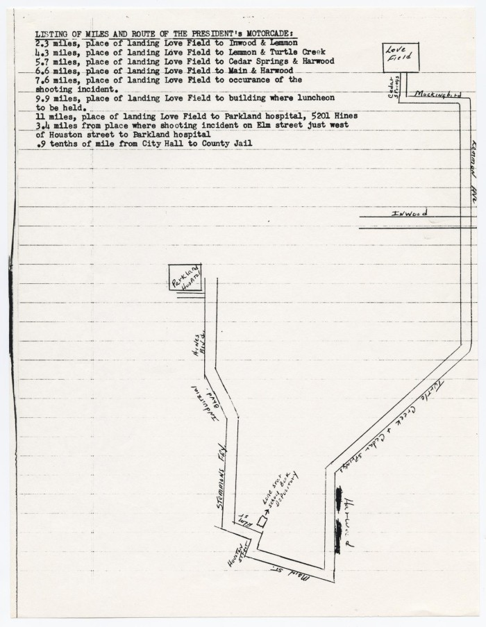 Map of the motorcade route from Field to Parkland Hospital ... Kennedy Motorcade Route Map on cape kennedy florida on map, texas sea level map, kennedy parade route dallas, jfk dallas texas map, kennedy assassination map,