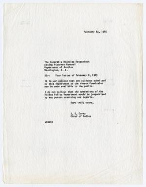 Primary view of object titled '[Correspondence Between J. E. Curry and Nicholas Katzenbach]'.