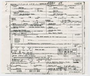 Primary view of object titled '[Certificate of Death for Lee Harvey Oswald]'.