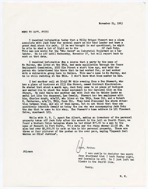 Primary view of object titled '[Memorandum by J. R. Leavelle concerning Jack Ruby]'.