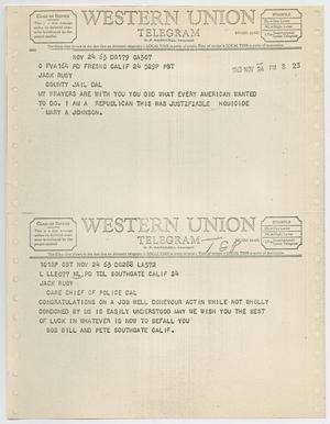 Primary view of object titled '[Telegrams to Jack Ruby from Mary A. Johnson, Bob Bill and Pete Southgate, November 24, 1963 #1]'.