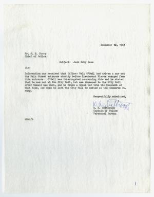 Primary view of object titled '[Report to Chief J. E. Curry by W. R. Westbrook, concerning the activities of Jack Ruby]'.