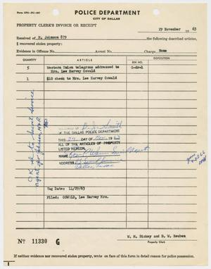 Property Clerk's Receipt of Telegrams #1