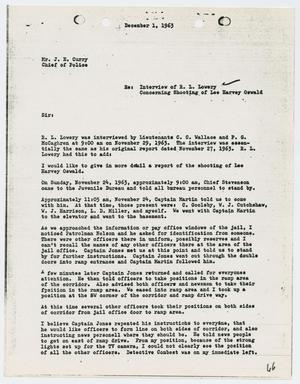 Primary view of object titled '[Report from P. G. McCaghren to Chief J. E. Curry, December 1, 1963]'.