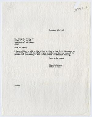 [Correspondence with Emory L. Brown, November 1967]