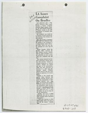 Primary view of object titled '[Newspaper Clipping Concerning New Orleans District Attorney Investigations]'.