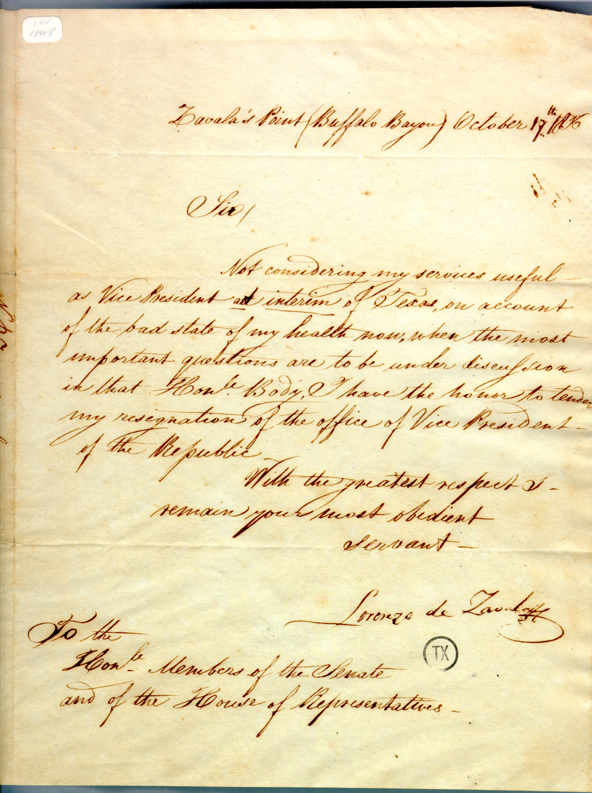de Zavala resignation October 17th 1836                                                                                                      [Sequence #]: 1 of 1