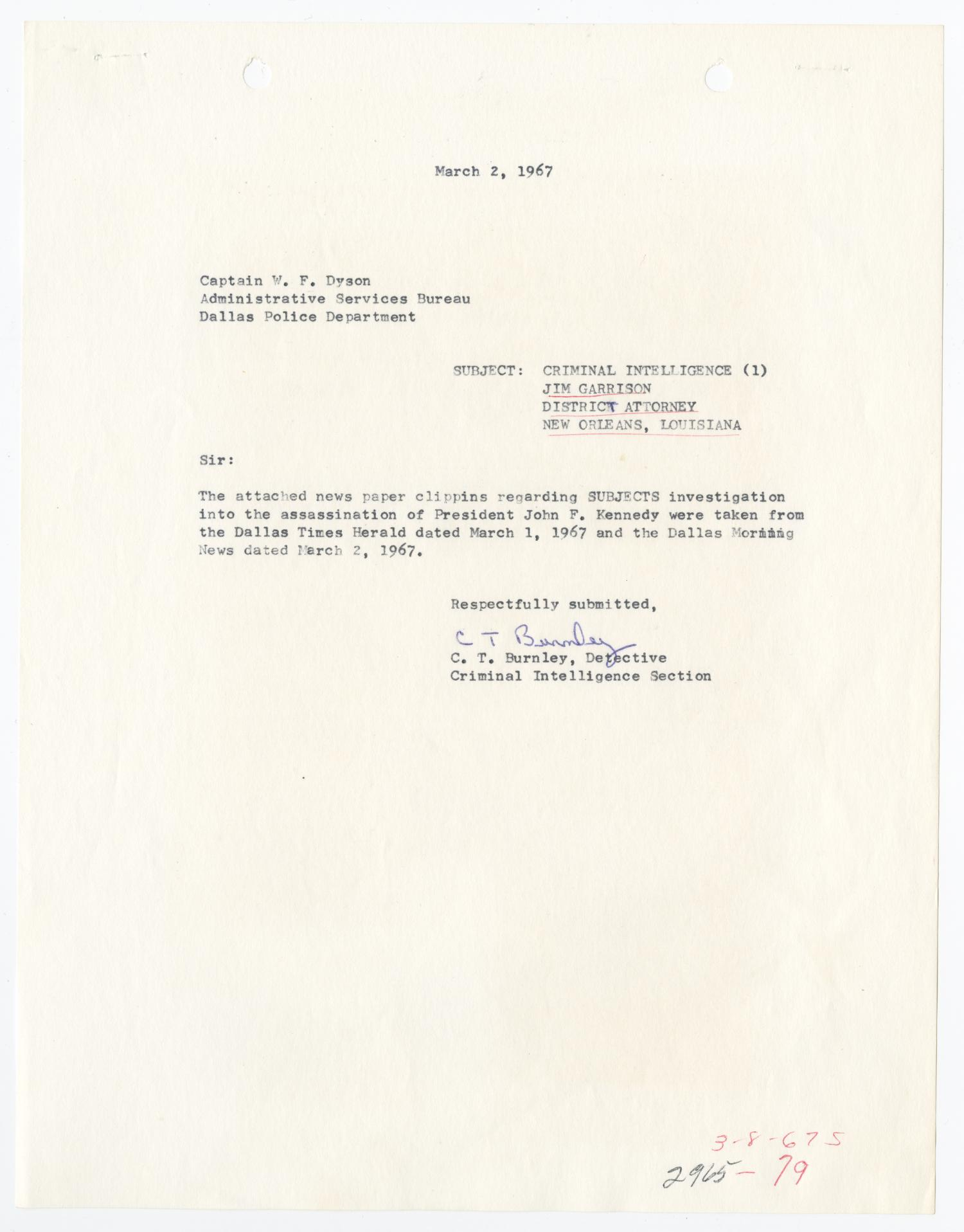 [Report to W. F. Dyson by C. T. Burnley, March 2, 1967]                                                                                                      [Sequence #]: 1 of 10