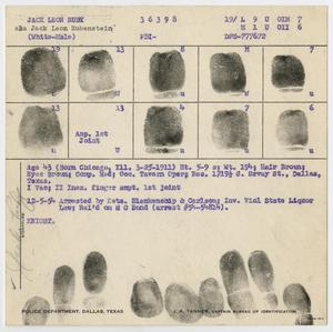 Primary view of object titled '[Fingerprints of Jack Ruby #2]'.