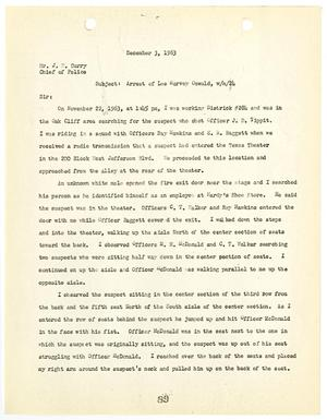 Primary view of object titled '[Report from T. A. Hutson to Chief J. E. Curry, concerning the arrest of Lee Harvey Oswald #1]'.