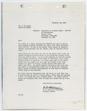 Primary view of object titled '[Report from C. C. Wallace to Chief J. E. Curry, December 18, 1963]'.