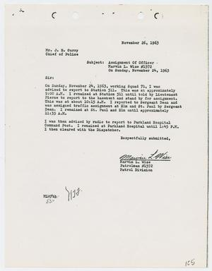 Primary view of object titled '[Report from Marvin L. Wise to Chief J. E. Curry, November 26, 1963]'.