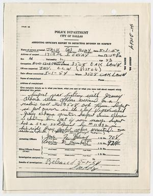 Primary view of object titled '[Arresting Officer's Report on Suspect Jack Ruby, May 1, 1954]'.