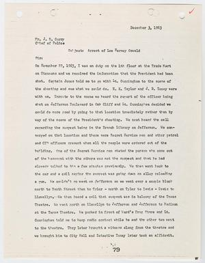 Primary view of object titled '[Report from Marvin A. Buhk to Chief J. E. Curry, concerning the arrest of Lee Harvey Oswald #2]'.