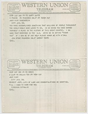 Primary view of object titled '[Telegrams to Jack Ruby from Jim Stone and Virginia Ditullio, November 24, 1963 #1]'.