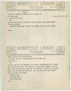 Primary view of object titled '[Telegrams to Jack Ruby from Josephine Dallinger and Robert O'Shea, November 24, 1963 #1]'.