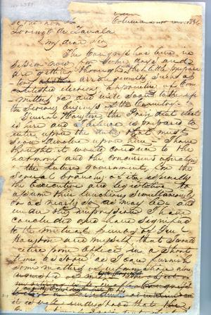 [Letter from Burnet to Zavala] October 14th 1836