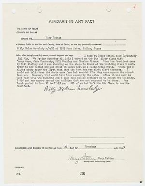 Primary view of object titled '[Affidavit by Billy Nolan Lovelady #2]'.