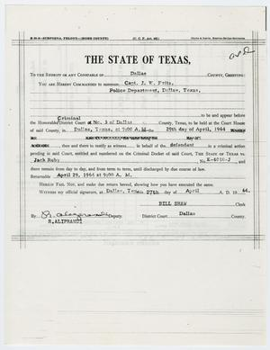 Primary view of object titled '[Subpoena by Bill Shaw summoning Captain J. W. Fritz]'.