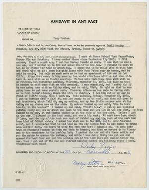 Primary view of object titled '[Affidavit in Any Fact - Statement by Buell Wesley Frazier, November 22, 1963 #2]'.