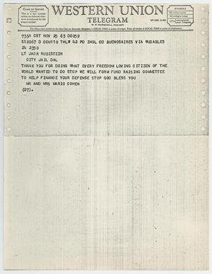 Primary view of object titled '[Telegram to Jack Ruby from Mr. and Mrs. Mario Cohen, November 24, 1963 #1]'.