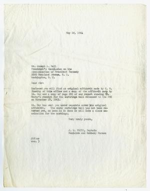 Primary view of object titled '[Letter from J. W. Fritz to Joseph A. Ball, May 18, 1964 #2]'.
