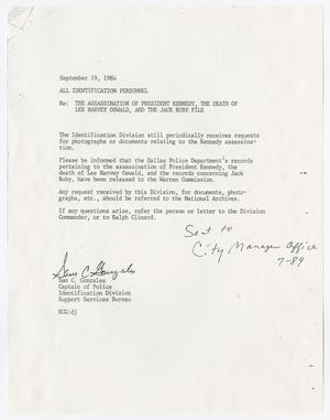 Primary view of object titled '[Memo by Sam C. Gonzales, September 19, 1984]'.