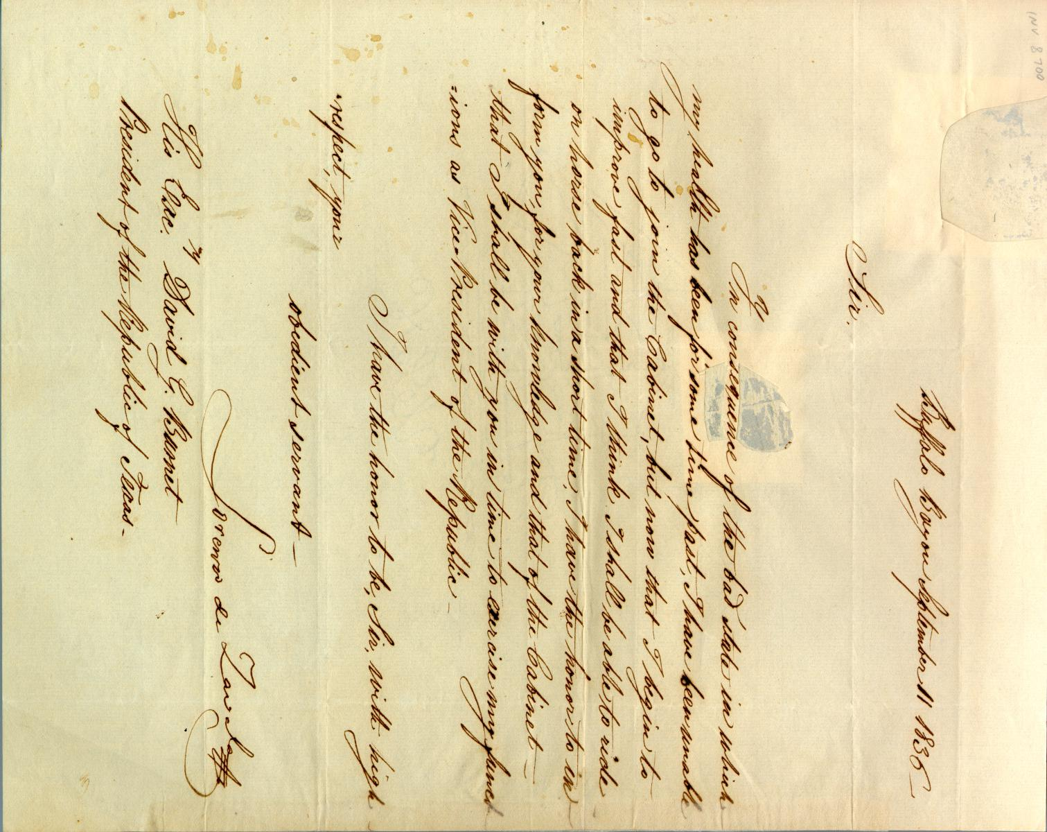 [Letter from Lorenzo de Zavala to Burnet] September 11th 1836                                                                                                      [Sequence #]: 1 of 1