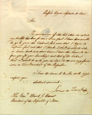 [Letter from Lorenzo de Zavala to Burnet] September 11th 1836