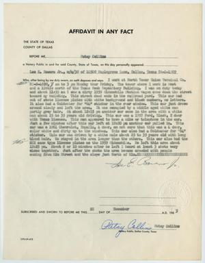 Primary view of object titled '[Affidavit in Any Fact - Statement by Lee E. Bowers, November 22, 1963 #2]'.