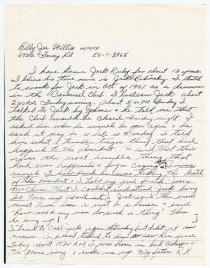 Primary view of object titled '[Handwritten statement by Billy Joe Willis]'.