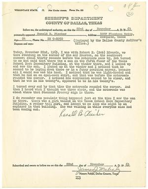 Primary view of object titled '[Voluntary Statement by Ronald B. Fischer #1]'.
