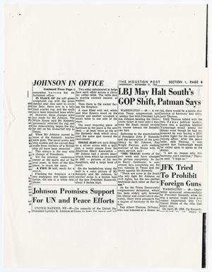 Primary view of object titled '[Photocopy of a newspaper clipping about Lyndon B. Johnson]'.