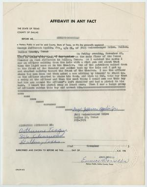 Primary view of object titled '[Affidavit in Any Fact - Statement by George Jefferson Applin, Jr., November 22, 1963 #3]'.