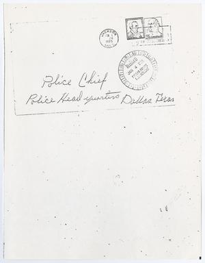 Primary view of object titled '[Letter from an unknown author to the Dallas Police Chief, December 29, 1964 #1]'.