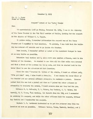 Primary view of object titled '[Report from Gerald L. Hill to Chief J. E. Curry, concerning the arrest of Lee Harvey Oswald #1]'.