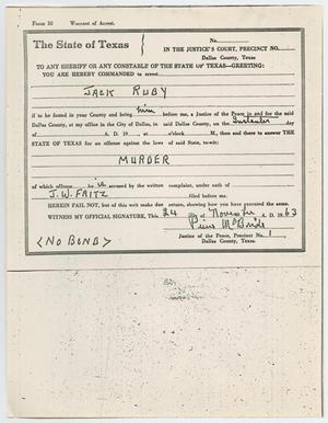 Primary view of object titled '[Warrant of Arrest for Jack Ruby by Pierce McBride, November 24, 1963 #4]'.
