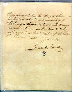 [Letter from Zavala to Prest/Cabinet] June 3rd 1836